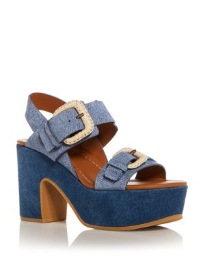 See by Chloe Women's Denim Print Suede High Heel Platform Sandals thumbnail