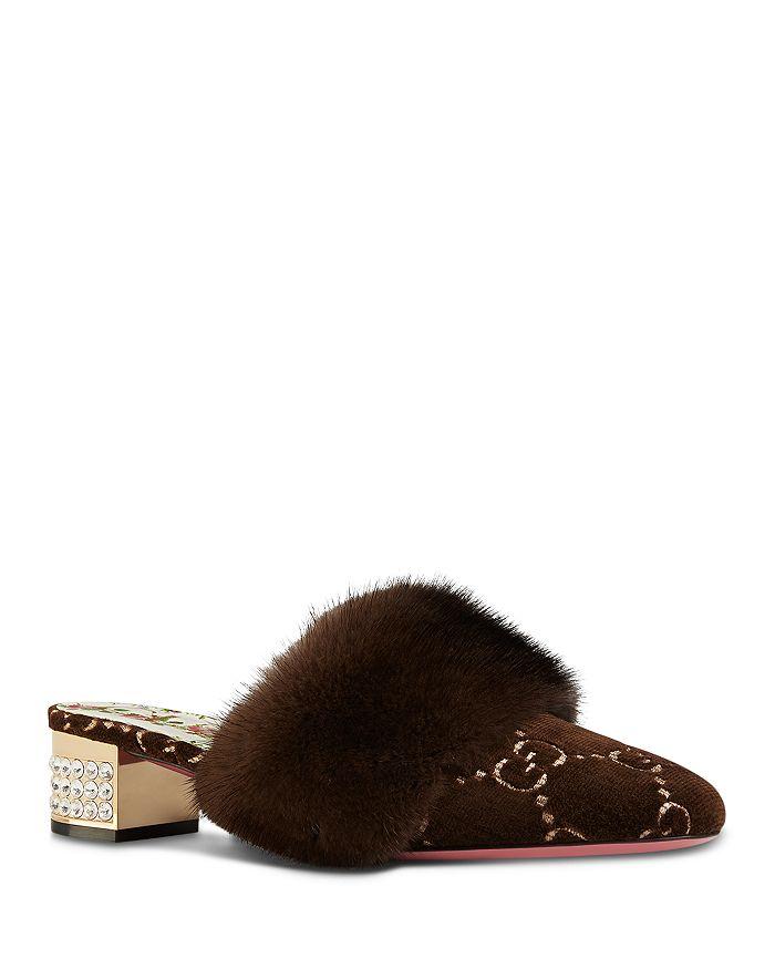 Gucci - Women's Candy Velvet & Mink Fur Embellished Mules