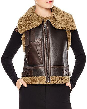 Sandro - Salome Real Lamb Shearling & Leather Vest
