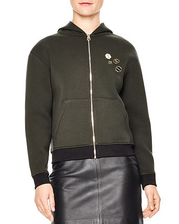 Sandro - Polvo Contrast-Color Trim Pin-Embellished Hoodie