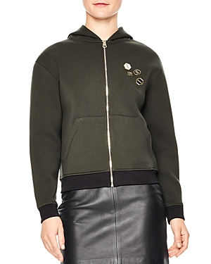 Sandro Polvo Contrast-Color Trim Pin-Embellished Hoodie