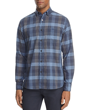 Todd Snyder Blue Heather Check Long Sleeve Button-Down Shirt