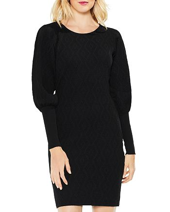 VINCE CAMUTO - Balloon Sleeve Jacquard Sweater Dress