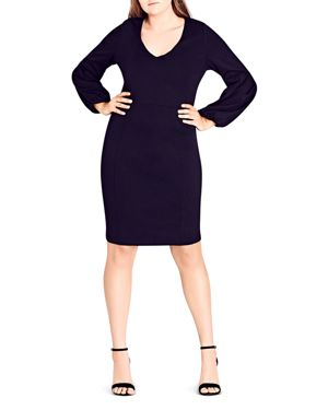 City Chic Balloon-Sleeve Sheath Dress