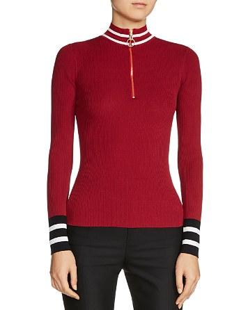 $Maje Minaudier Zip-Neck Sweater - Bloomingdale's