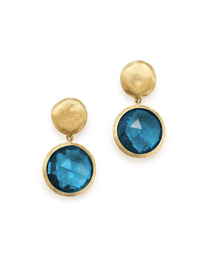 4938ad4caed2f 18K Yellow Gold Jaipur London Blue Topaz Double Drop Earrings