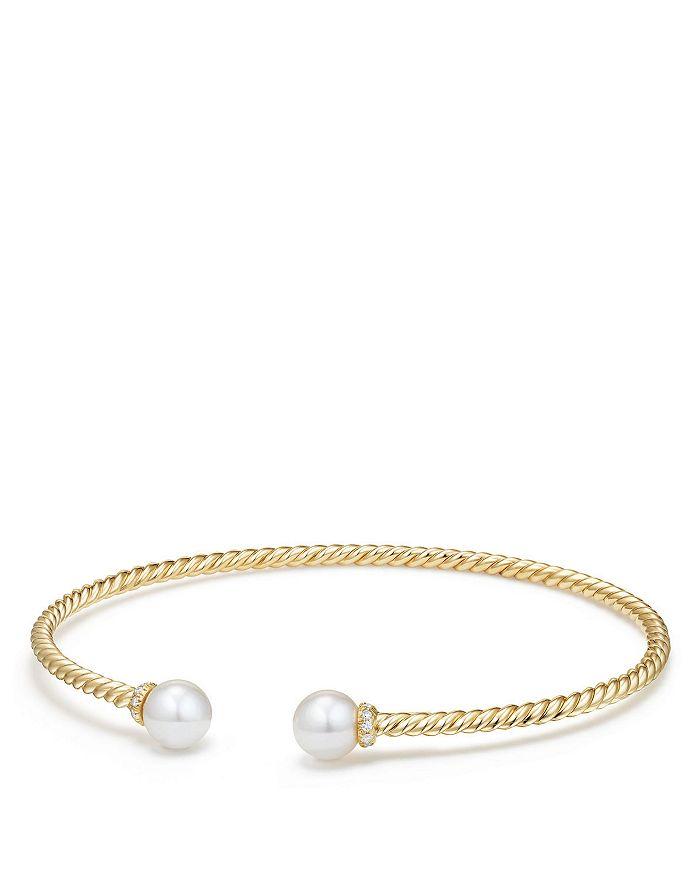 David Yurman - Solari Pearl Bracelet with Cultured Akoya Pearls & Diamonds in 18K Gold