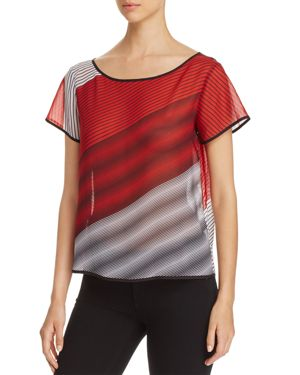 Kenneth Cole Sheer Striped Top