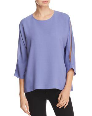 Eileen Fisher Split-Sleeve Silk Top
