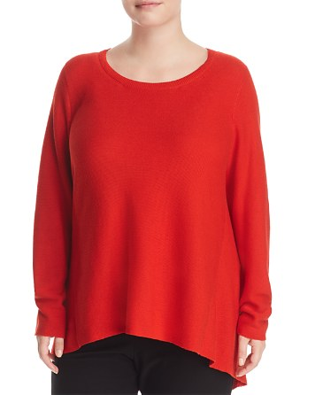 $Eileen Fisher Plus Round Neck Tunic Sweater - Bloomingdale's