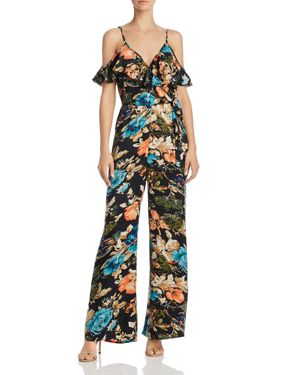 Band of Gypsies Cold-Shoulder Peony Print Jumpsuit