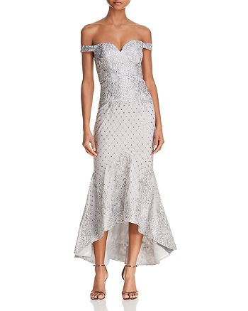 Bariano - Off-the-Shoulder Sequin Lace Gown