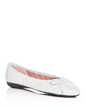 PAUL MAYER Women'S Best Brighton Quilted Cap-Toe Ballet Flats in White