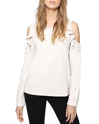 Sanctuary - Cordelia Ruffled Cold-Shoulder Sweatshirt
