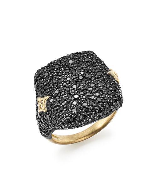 Armenta - 18K Yellow Gold & Blackened Sterling Silver Old World Champagne Diamond & Black Sapphire Signet Ring