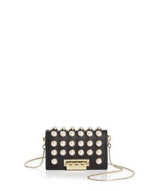 Zac Zac Posen Earthette Faux-Pearl Chain Strap Leather Card Case 2794888