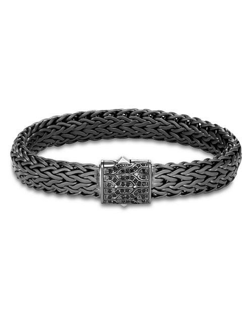 JOHN HARDY - Men's Blackened Sterling Silver Classic Chain Large Flat Link Bracelet with Black Sapphire