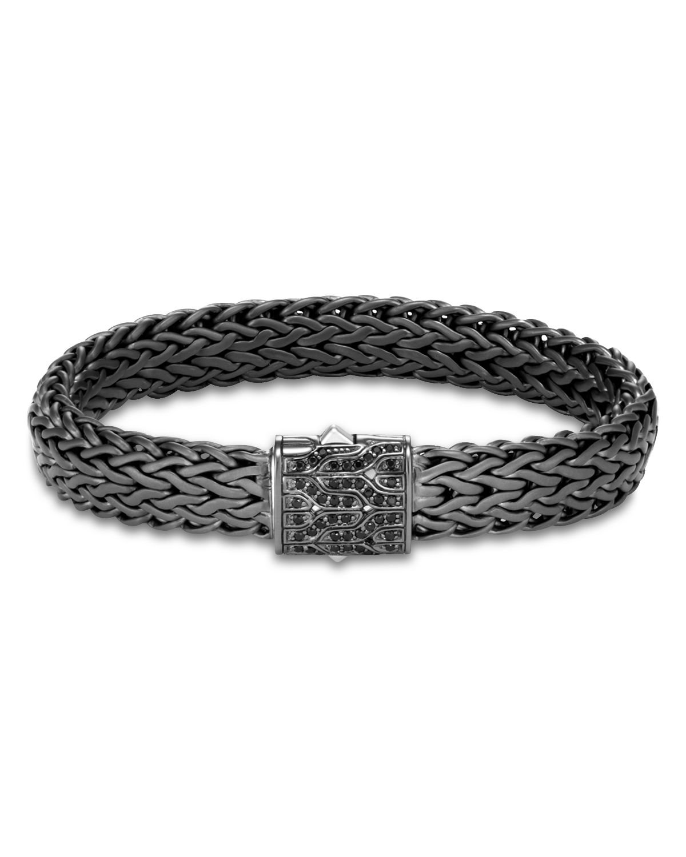 John Hardy Classic Chain Wide Bracelet w/ Black Sapphire Links, Size M