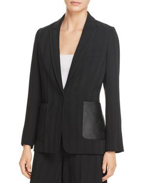 Kenneth Cole Faux Leather-Pocket Striped Blazer