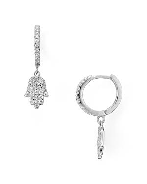 Sterling Silver Pave Hamsa Drop Earrings