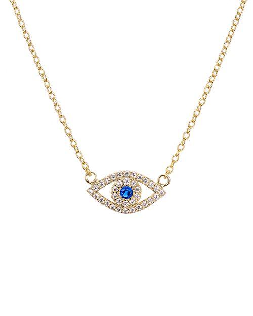 "AQUA - Sterling Silver Evil Eye Pendant Necklace, 15"" - 100% Exclusive"