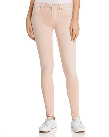 Hudson - Mid-Rise Cropped Skinny Jeans in Rosewater