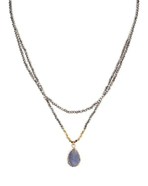 Aqua Beaded Layered Necklace, 15-18 - 100% Exclusive