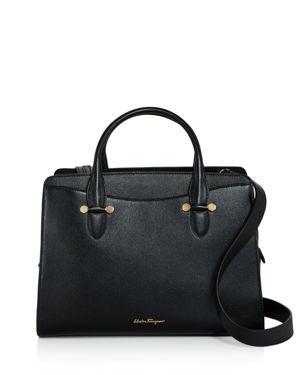 Small Today Leather Satchel - Black, Nero