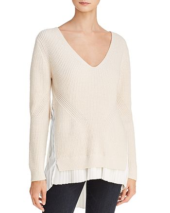FRENCH CONNECTION - Taurus Pleated Faux-Underlay Sweater
