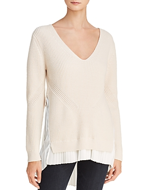 French Connection Taurus Pleated Faux-Underlay Sweater