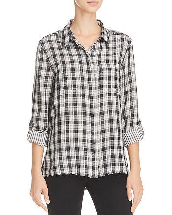 AQUA - High/Low Plaid Shirt - 100% Exclusive
