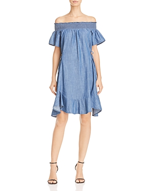 Aqua Off-the-Shoulder Chambray Dress - 100% Exclusive
