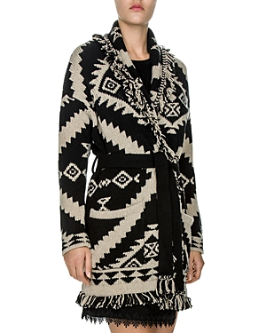 The Kooples Tribal-Inspired Jacquard-Pattern Fringed Cardigan at Bloomingdale's