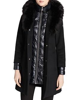 Calvin Klein - Faux Fur Trim Mixed Media Coat