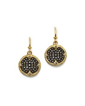 Armenta - Blackened Sterling Silver & 18K Yellow Gold Old World Champagne Diamond Carved Disc Earrings