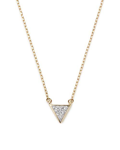 "Adina Reyter - 14K Yellow Gold Super Tiny Pavé Diamond Triangle Necklace, 15"""