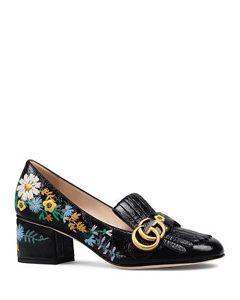 Gucci - Women's Embroidered Patent Leather Mid-Heel Loafers