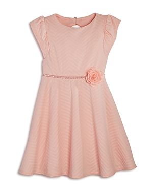 Us Angels Girls' Shimmery Textured Dress with Back Cutout - Little Kid