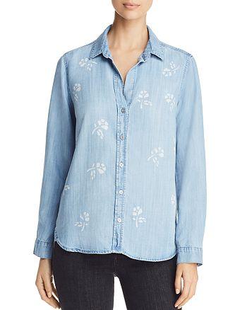 Side Stitch - Floral Print Chambray Shirt