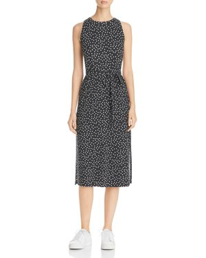 Three Dots Belted Dot Print Midi Dress