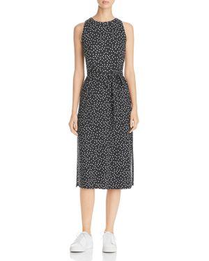 Three Dots Belted Dot Print Midi Dress