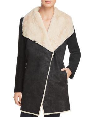 Calvin Klein Mixed Media Faux Suede Flyaway Jacket
