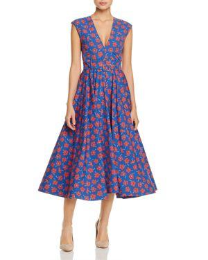 Alice and Olivia Dot Belted Floral-Print Dress