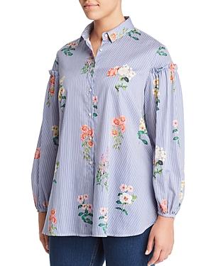 New Marina Rinaldi Baghdad Striped Floral-Print Button-Down Shirt, White