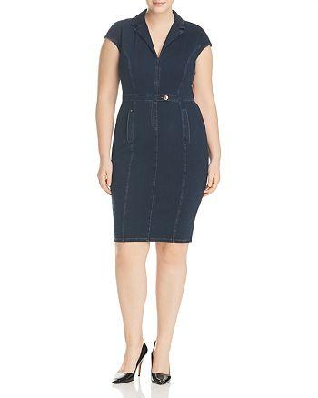 Marina Rinaldi - x Ashley Graham Darsen Fitted Denim Dress