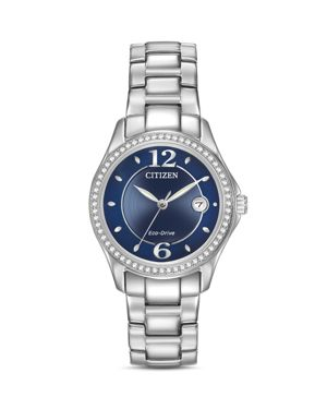 Women'S Eco-Drive Swarovski Crystal-Accented Stainless Steel Bracelet Watch 29Mm Fe1140-86L, Blue/Silver