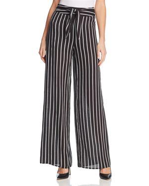 Aqua Striped Tie-Waist Wide-Leg Pants - 100% Exclusive