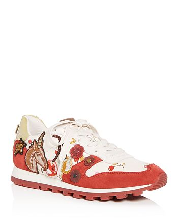 COACH - Women's Uni Embellished Leather Lace Up Sneakers