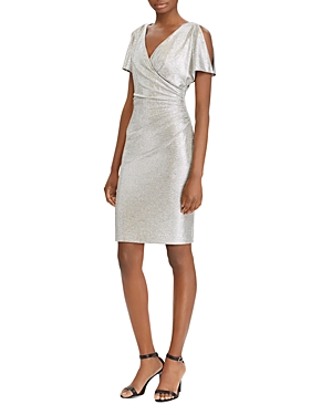 Ralph Lauren  LAUREN RALPH LAUREN METALLIC COLD-SHOULDER DRESS