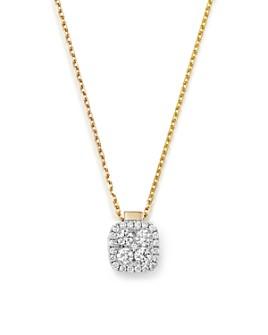 "Frederic Sage - 18K White & Yellow Gold Firenze Diamond Small Cushion Pendant Necklace, 16"""